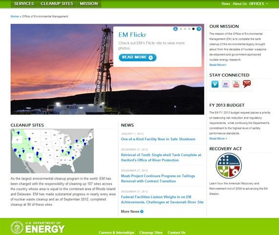 A screenshot of the newly revamped EM website.
