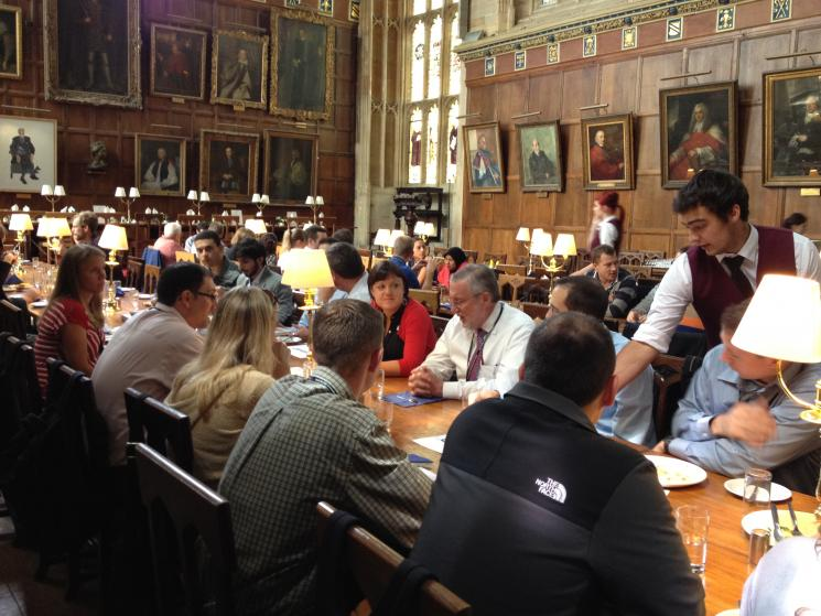 Assistant Secretary Dr. Peter Lyons meets with students on the Oxford University Campus in the same room where scenes from the Harry Potter films were filmed.