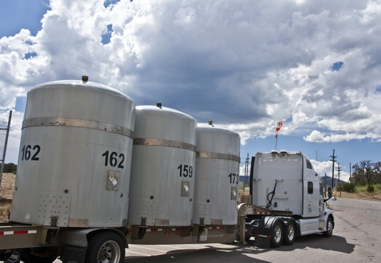 Los Alamos National Laboratory has set another record for shipments of transuranic waste in a single fiscal year. Here, the Lab's 172nd shipment leaves the Lab on Aug. 2, headed for the Waste Isolation Pilot Plant.