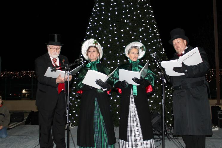 Carolers sing in front of Forest Acres, South Carolina's new LED holiday light display. | Photo courtesy of Richland County, S.C.