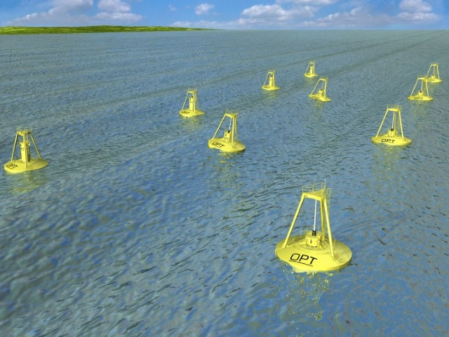Computer graphic illustration of buoys floating in the ocean.