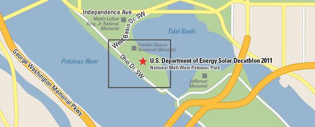 Location of U.S. Department of Energy's 2011 Solar Decathlon at the National Mall's West Potomac Park in Washington, D.C.