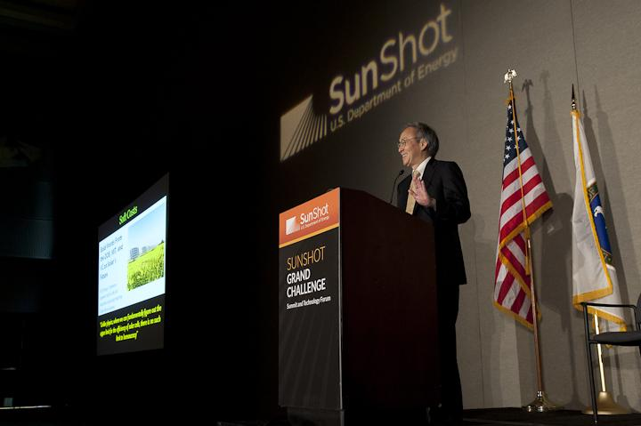 Energy Secretary Steven Chu gives the keynote address at the SunShot Grand Challenge Summit in Denver, Colorado. | Photo by Dennis Schroeder/NREL.