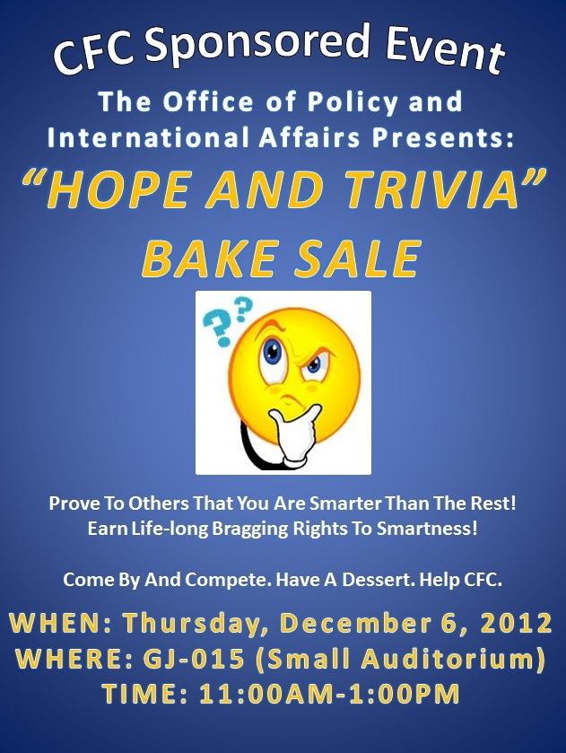 """Hope and Trivia"" Bake Sale"