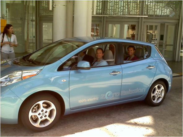 Assistant Secretary Patricia Hoffman test drives the new Nissan Leaf. Nissan will introduce the all-electric Leaf in Hawaii in January 2011. Hawaii is offering incentives for the purchase of the vehicle and for home charging station development.