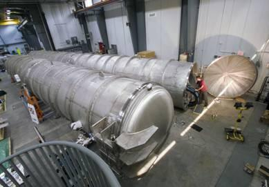 Detector tanks for the new SANS instruments at the High Flux Isotope Reactor. The Bio-SANS detector is on the right. Source: ORNL