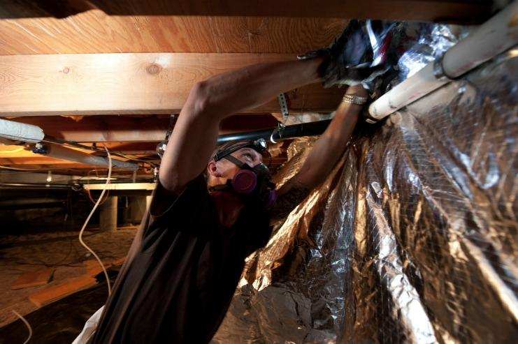Adding insulation in an existing home saves money and improves comfort. | Photo courtesy of Dennis Schroeder, NREL.