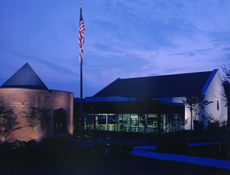 Homewood Public Library at Night | Photo Courtesy of Homewood Public Library