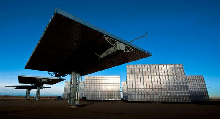 The Amonix 7700 CPV Solar Power Generators at the SolarTAC facility in Aurora, Colorado.  | Photo credit: Dennis Schroeder, National Renewable Energy Laboratory staff photographer