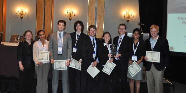 The University of Maryland team accepted the award for the best combined heat, hydrogen, and power system design at the World Hydrogen Energy Conference (WHEC) in Toronto. | Photo courtesy of Jennie Moton.