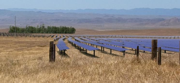 An artist rendering of what the California Valley Solar Ranch project will look like post-construction .