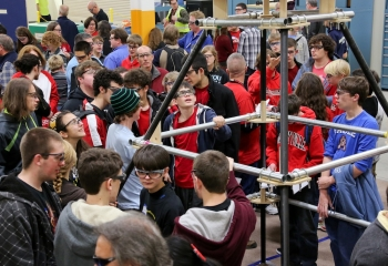 "Last week, students from dozens of local Tennessee high schools gathered at Oak Ridge National Laboratory's Manufacturing Demonstration Facility to check out the game field that they'll be working with in the next six weeks. This year, the young engineers' challenges include building robots that can throw discs and climb pyramids. <a href=""http://www.ornl.gov/info/features/get_feature.cfm?FeatureNumber=f20130107-00"">Learn more</a> about the 2013 FIRST Robotics Competition. 