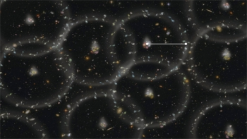 "An artist's conception of the measurement scale of the universe. Baryon acoustic oscillations are the tendency of galaxies and other matter to cluster in spheres, which originated as density waves traveling through the plasma of the early universe. The clustering is greatly exaggerated in this illustration. The radius of the spheres (white line) is the scale of a ""standard ruler"" allowing astronomers to determine, within one percent accuracy, the large-scale structure of the universe and how it has evolved. 