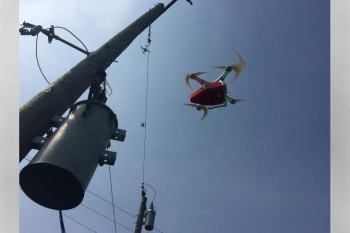 Testing the use of a drone to inspect electrical transformers (courtesy ORNL's Peter Fuhr).