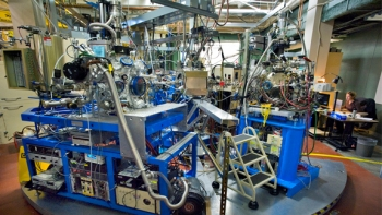 The photo above shows one of the beam lines at Berkeley Lab's Advanced Light Source, a national user facility available for use by scientists and researchers from the federal government, academia and the private sector. | Photo courtesy of Roy Kaltschmidt, Berkeley Lab.