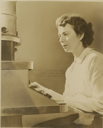In celebration of Women's History Month, the Department of Energy is honoring some of the nation's best and brightest women in the science, technology, engineering and math (STEM) community. In this 1949 photo, U.S. Geological Survey mineralogist Elaine Zworykin is shown with an electron microscope, a piece of technology developed by her father, Vladimir Zworykin. Elaine had been assigned to RCA laboratories to teach researchers how to use the microscope.   Photo courtesy of Smithsonian Institution Archives, Acc. 90-105 - Science Service, Records, 1920s-1970s.