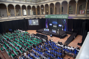 This weekend, middle and high school students from across the country competed in the 24th annual National Science Bowl. After a series of round robin and double elimination competitions over the weekend, the final teams went head-to-head in the final rounds at the National Building Museum Monday morning. Mira Loma High School from Sacramento, California, won first prize for the high school competition, while the Greater Boston Science and Math Team emerged victorious in the middle school competition. In this photo, Energy Secretary Ernest Moniz addresses the students before final competition awards are announced. | Photo courtesy of the Energy Department.