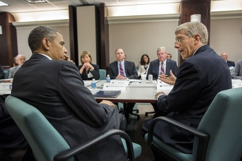 President Barack Obama listens to Acting Energy Secretary Daniel B. Poneman during a meeting with electric utility CEOs and trade association representatives at the Department of Energy in Washington, D.C., May 8, 2013. The group met to discuss lessons learned during the response to Hurricane Sandy, as well as the ongoing preparations for 2013 hurricane season, which begins June 1. | Official White House Photo by Pete Souza.