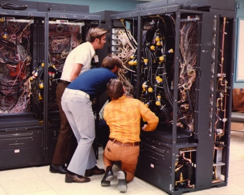 What may appear to be a jumble of wires is actually the CDC 7600, one of the fastest supercomputers in the world between 1969 and 1975. With its first installation at Lawrence Livermore National Laboratory, the CDC 7600 continued to lead in computing and custom-software development for nuclear design and plasma simulations. It had 5,000 times the computing power of the UNIVAC, and connected researchers at remote workstations to the CDC 6600s and 7600s, creating one of the first -- and the largest -- such networking systems. | Photo courtesy of Lawrence Livermore National Laboratory.