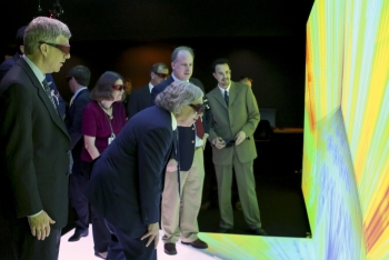 "This week, Secretary Ernest Moniz experienced the 3-D visualizations at the <a href=""/articles/five-years-building-next-generation-reactors-0"" target=""_blank"">Consortium for the Advanced Simulation of Light Water Reactors (CASL)</a>, one of the Department's Energy Innovation Hubs. The facility, located at Oak Ridge National Laboratory, develops computer models that simulate nuclear power plant operations. The researchers at CASL are developing technology that could accelerate upgrades at existing nuclear plants while improving the plants' reliability and safety. <a href=""/articles/secretary-moniz-visits-oak-ridge-national-laboratory"" target=""_blank"">Check out more photos from Secretary Moniz's visit to CASL.</a> 