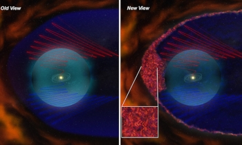 Old and new views of the heliosheath. Red and blue spirals are the gracefully curving magnetic field lines of orthodox models. New data from Voyager add a magnetic froth (inset) to the mix. | Courtesy of NASA