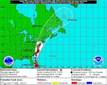 Coastal watches/warnings and 5-day forecast cone for storm center of Hurricane Irene, updated on Thursday, Aug. 25, 2011 at 5:00 PM EST. | Image courtesy of NOAA