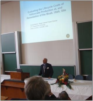 Moab Federal Project Director Donald Metzler presents at the Uranium Mining Remediation Exchange Group meeting in Germany in September 2011.