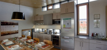 The University of Nevada Las Vegas ventilated the kitchen effectively with tilt and turn windows. | Photo from Jason Flakes/U.S. Department of Energy Solar Decathlon