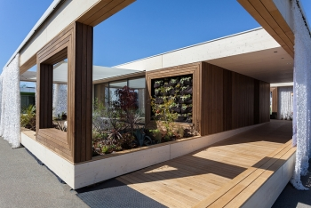 Exterior of the house built by students from Vienna Institute of Technology.    Photo by Jason Flakes, U.S. Department of Energy Solar Decathlon