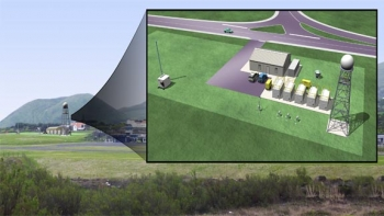 This artist's rendering illustrates the full site installation, including a new aerosol observing system (far left) and a precipitation radar (far right, with 20-ft tower). The site is located near the Graciosa Island aiport terminal, hidden by the image inset.   Image courtesy of ARM Climate Research Facility.