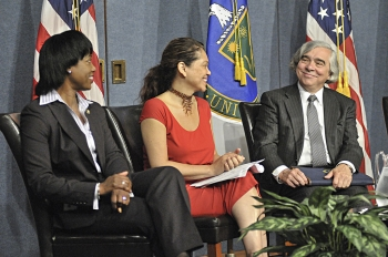 Secretary of Energy Ernest Moniz with The Honorable Dot Harris, Director of the Energy Department's Office of Economic Impact and Diversity (far left), and Sandra Guzman, award winning multimedia journalist, at the Minorities in Energy launch event. | Photo by the Energy Department.