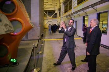 Deputy Secretary of Energy Daniel Poneman (right) and Jose Zayas, Wind and Water Technologies Office Director,  tour the Clemson University Wind Turbine Drivetrain Testing Facility in North Charleston, South Carolina. The facility officially opened last week. | Photo courtesy of Clemson University
