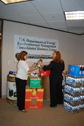 Kimberly Dellinger and Michelle Litmer with EMCBC prepare donations for the campaign.
