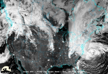 On Monday, October 29, 2012, Hurricane Sandy made landfall 5 miles south of Atlantic City, New Jersey, with maximum sustained winds near 80 mph. This satellite image was taken 16 to 18 hours before Sandy's landfall on the New Jersey coast, using the Visible Infrared Imaging Radiometer Suite on NASA's Suomi National Polar-orbiting Partnership satellite.