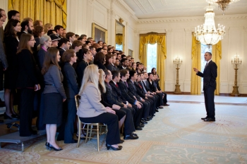 President Barack Obama greets the 2010 PECASE recipients in the East Room of the White House, Oct. 14, 2011.  | Courtesy of the White House Photo Office
