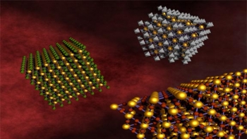 DNA linkers allow different kinds of nanoparticles to self-assemble and form relatively large-scale nanocomposite arrays. This approach allows for mixing and matching components for the design of multifunctional materials. | Image courtesy of Brookhaven National Laboratory.