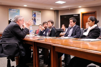 Assistant Secretary for Nuclear Energy Dr. Peter Lyons meets with students from the California Institute of Technology to discuss how the Energy Department is working to ensure that the next generation is trained to lead innovation in the industry. | Photo courtesy of CalTech.