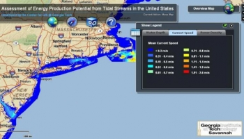 A map generated by Georgia Tech's tidal energy resource database shows mean current speed of tidal streams. The East Coast, as shown above, has strong tides that could be tapped to produce energy.  | Photo courtesy of Georgia Institute of Technology