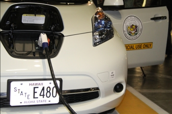 """Last July, Governor Neil Abercrombie unveiled the first public charging station installed in the state capitol's underground parking garage with the """"Hawaii EV Ready"""" program. In 2011, rebates were approved for 237 electric vehicles and 168 chargers.   Photo courtesy of the Office of the Governor."""