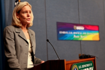 Tracy Mustin, Principal Deputy Assistant Secretary of the Office of Environmental Management, welcomed keynote speaker Cuc Vu, Human Rights Campaign's Chief Diversity Officer, and guest speaker Robby Gregg, the Associate Director of Diversity and Equality Partnerships at PFLAG National, at the Lesbian, Gay, Bisexual and Transgender Pride Month Program at the Forrestal Building June 21. | Photo by Hantz Leger.