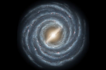 This is a graphic representation of the Milky Way, the galaxy in which Earth is contained. Scientists know of more than 20 visible satellite galaxies that circle the center of the Milky Way, with masses ranging from one million to one billion solar masses. Occasionally, one of these orbiting galaxies pass through the Milky Way making waves for millennia. | Graphic courtesy of NASA