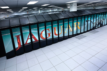 Supercomputers like this petascale computer, Jaguar, at Oak Ridge National Laboratory are helping researchers build and experiment with next-generation nuclear reactors. Jaguar powers the virtual reactor at the Consortium for Advanced Simulation of Light Water Reactors (CASL). | Photo courtesy of Oak Ridge National Lab.