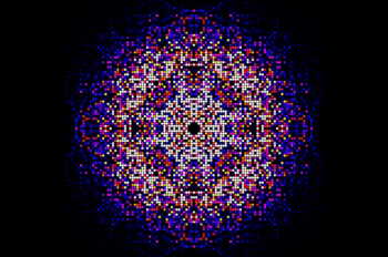 A map of intensities merged using the CrystFEL software suite from almost two hundred thousand diffraction patterns obtained from in vivo grown crystals of Trypanosoma brucei cathepsin B. This map is used to synthesize the three-dimensional molecular structure of the enzyme. | Photo courtesy of Karol Nass/CFEL
