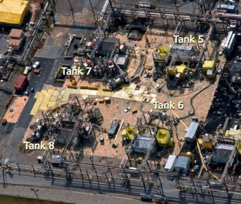 An aerial view shows tanks 5 and 6, which are scheduled for closure this fall. Nearby are two other underground waste tanks.