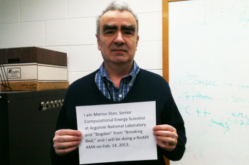 Marius Stan, computational energy scientist from Argonne National Lab, submits his verification photo as part of an informal question and answer session with Internet users on the Ask Me Anything section of the social website Reddit on February 14, 2013.