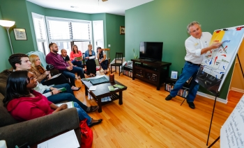 """The Energy Impact Illinois (EI2) """"house party"""" initiative was one of several innovative models proven by the more than 40 Better Buildings Neighborhood Program partners to create demand for home energy upgrades.   Photo courtesy of Dan Olson, EI2"""