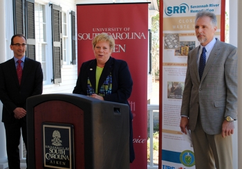 Officials announce financial support for a new engineering program at the University of South Carolina Aiken. Pictured, left to right, are URS Global Management and Operations Services General Manager James Taylor, USC Aiken Chancellor Sandra Jordan, and SRR President and Project Manager Ken Rueter.