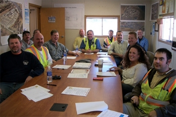 The Separations Process Research Unit Demolition Project Safety Committee meets regularly with employees and supervisors to discuss safety issues and reinforce safe work habits.