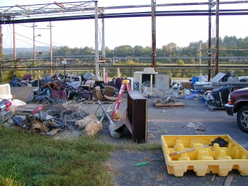 A waste area at an East Tennessee Technology Park scrap yard before cleanup.