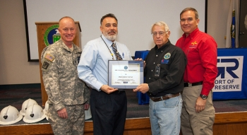 CBFO's Joe Franco, second from left, receives the New Mexico Patriotic Employer Award from the N.M. ESGR in January at WIPP. Others pictured, from left to right, include Col. Tim Paul, Joint Forces Headquarters, N.M. National Guard; N.M. ESGR Chair Ray Battaglini; and New Mexico Department of Veterans' Services Secretary Timothy Hale.